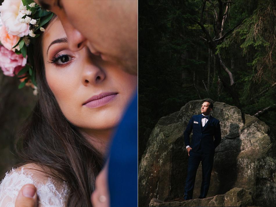portrety pary młodej osobno, kobieta patrzy do obiektywu, mężczyzna stoi na stale i spogląda w dal
