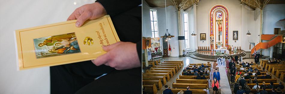 zdjęcia kościoła, szerokim ujęciu oraz detal dokumentów małżeńskich
