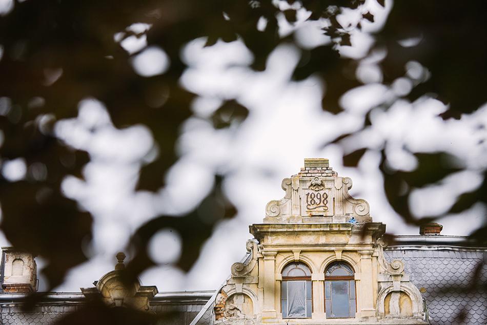 fragment Pałacu w Krowiarkach jest widoczny przez liście drzewa