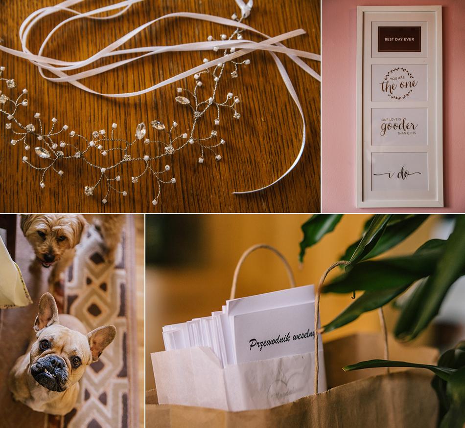 Detale ślubne przedstawiające przewodnik weselny i zapinke do włosów