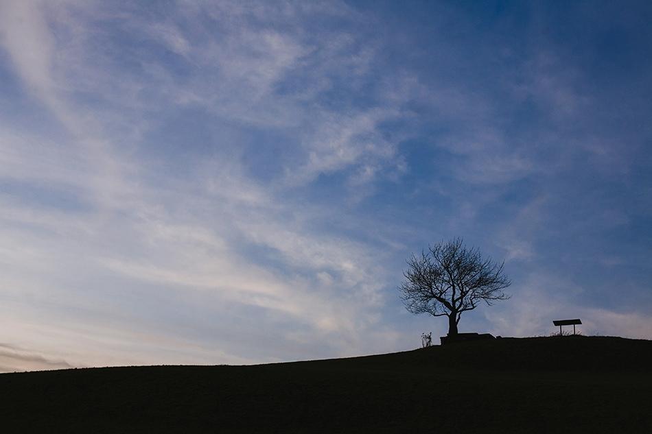 krajobraz w wiśle cieńków tuż po zachodzie słońca